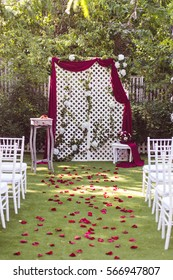 Wedding decoration (arch on the lawn in the park)