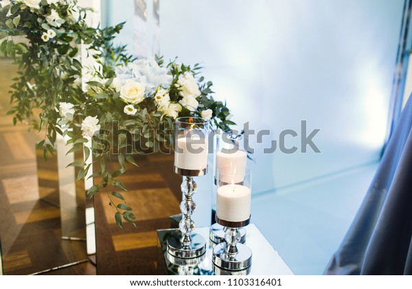 Wedding decoration, candle at the event or wedding party