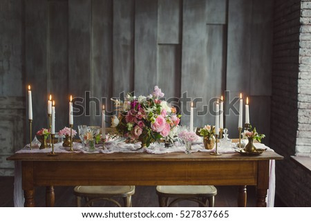 Wedding Decoration Candles On Table Decor Stock Photo Edit Now