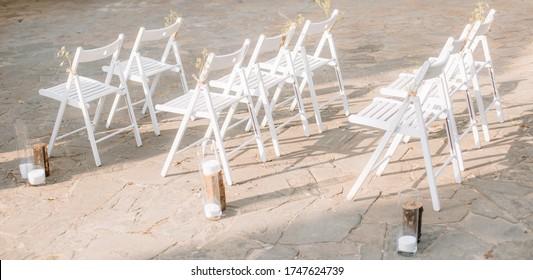 Details zur Hochzeitsdekoration. Langsamer Fokus. Bokeh