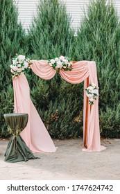 Wedding decoration details. Shallow focus. Bokeh