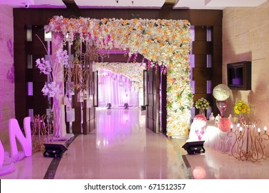 Wedding decoration element. Lights, entrance gate, Shower, Drinks, Flowers, Couple Stage