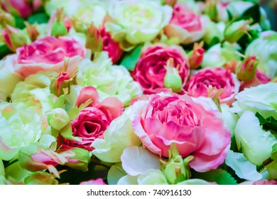 Wedding decoration flower background white pink stock photo edit wedding decoration flower background rose pattern fake flowers make from fabric artificial flowers junglespirit Image collections