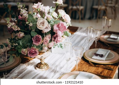 Wedding decoration with flowers and vintage elements