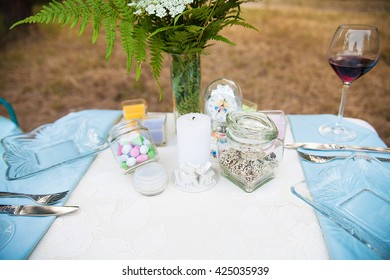 Wedding decoration in forest. Rustic wedding ceremony in forest. Vintage decoration in forest.