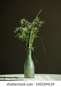 wedding decoration green bottle with grasses