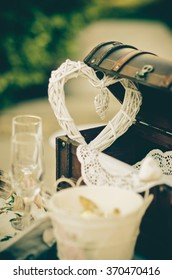 Wedding decoration heart in a chest