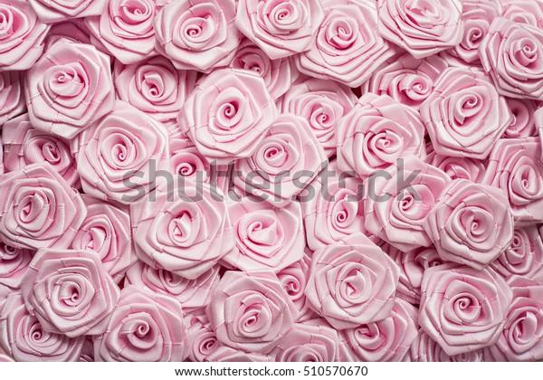 Wedding Decoration Light Pink Flowers Satin Stock Photo