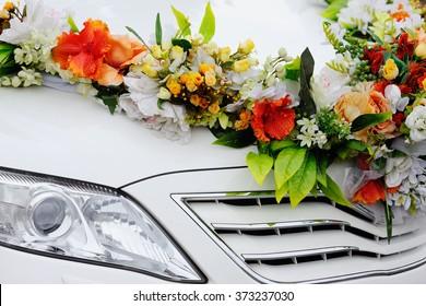 Wedding decoration on wedding car