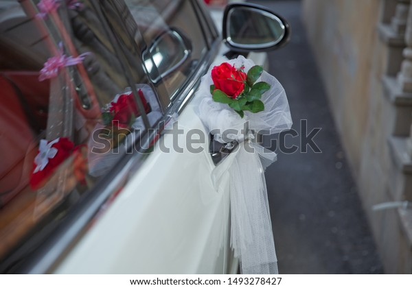 Wedding Decoration On White Car Red Stock Photo (Edit Now