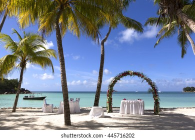 Wedding decoration in summer at Praslin island, Seychelles