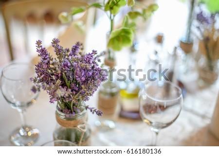 Wedding Decoration Table Lavender Greenery Stock Photo Edit Now
