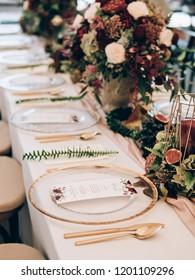 Wedding decoration. Table set at wedding.