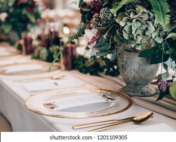 Wedding decoration. Table set at wedding.