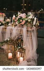 Wedding decorations. Beautifully decorated table for wedding event