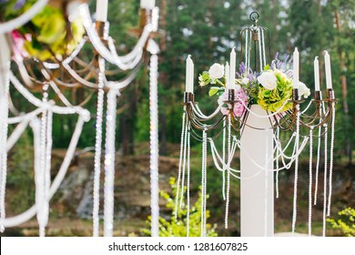 wedding decorations with candelabra, close up, on nature
