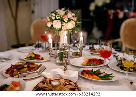 Wedding Decorations Candles On Table Top Stock Photo Edit Now