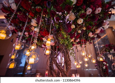 wedding decorations with flowers and candles. banquet decor. picture with soft focus
