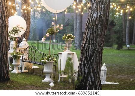 Wedding Decorations Photon White Balloons Retro Stock Photo Edit