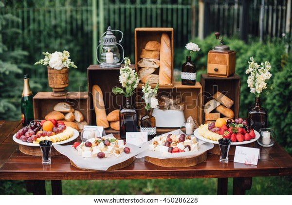 Wedding Decorations Reception Buffet Fruits Cheese Stock