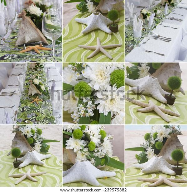 Wedding Decorations Wedding Table Beach Outdoor Stock Photo