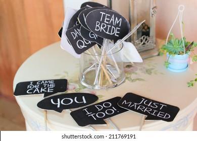 Wedding decorative signs.