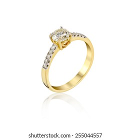 Wedding Diamond gold Ring isolated on white background