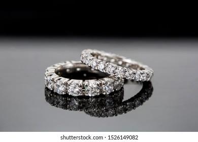 Wedding diamond ring on black background