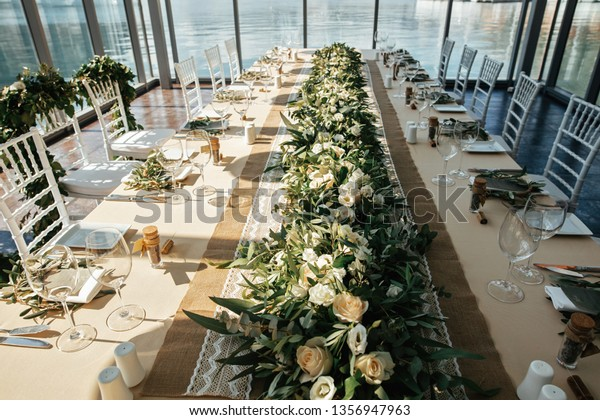 Wedding Dining Table Flower Centerpiece Restaurant Stock Photo Edit Now 1356947963