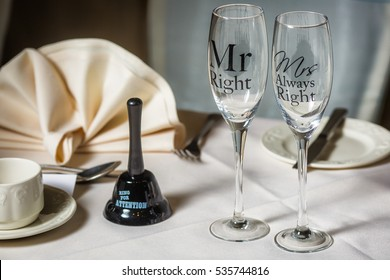 Wedding dining table setting with Mr & Mrs Right Champagne glasses
