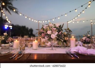 wedding dinner set up, Event set up