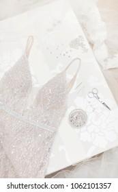 Wedding dress alteration. Dress making tools.