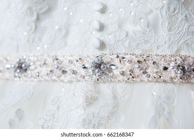 Wedding dress belt with pearl and stones.