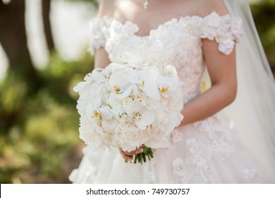 Wedding dress, wedding bouquet
