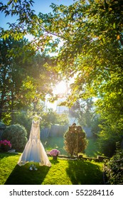 wedding dress in the morning