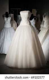 Wedding dress shop with many objects