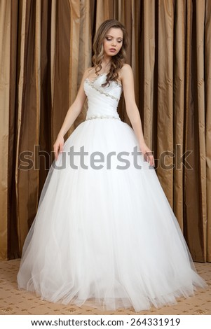 Wedding Dress Young Bride Tries On Stock Photo (Edit Now) 264331919 ...