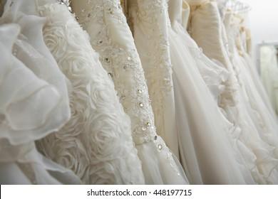 Wedding Dresses in dress store.