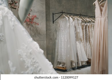 Wedding dresses in a luxury shop in Milan