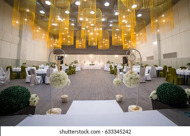 Wedding  elegant ceremony hall ready for guests