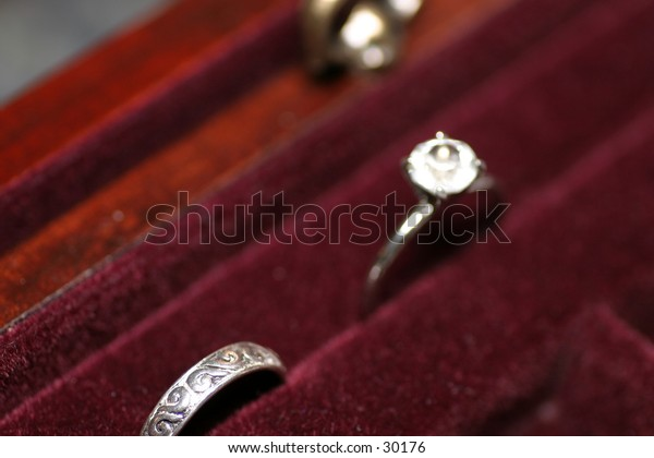 wedding and engagement rings in jewelry box