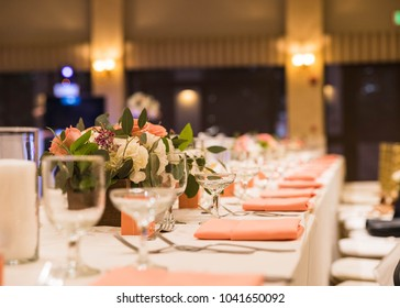 wedding event table set up with flower centerpieces