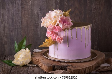 Wedding, festive, birthday  biscuit cake with pink peony.