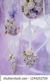 Wedding festive decorations with a purple mood