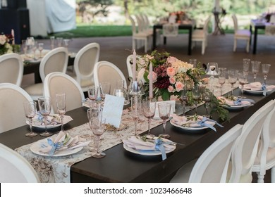 wedding. a festively laid table in a restaurant