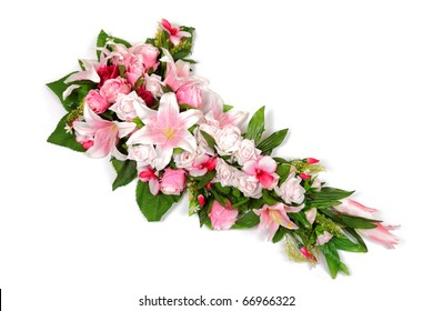 Wedding flower bouquet composition with roses, lilies and orchids isolated on white background.