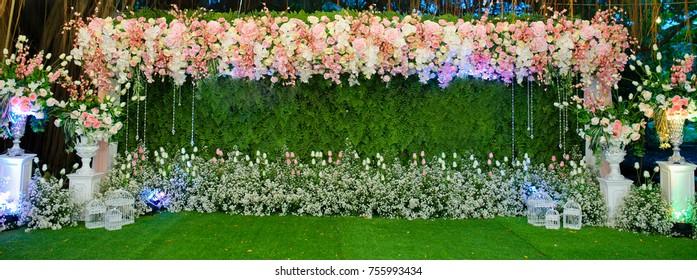 wedding flower decoration. flower backdrop background . wedding background . pink rose