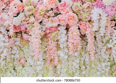wedding flower decoration  . flower backdrop background. rose wall