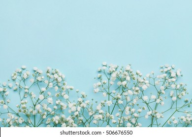 Framework flower images stock photos vectors shutterstock wedding flower frame on blue table from above flat lay style junglespirit Gallery
