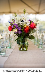 Wedding flower table display